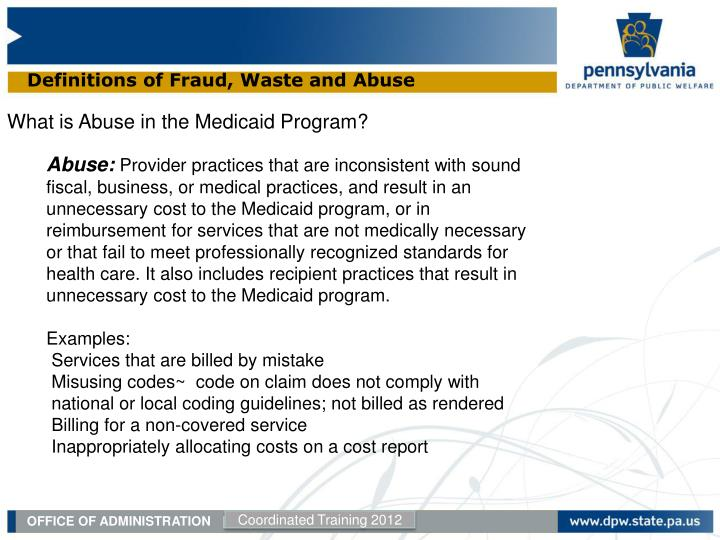 Definitions of Fraud, Waste and Abuse
