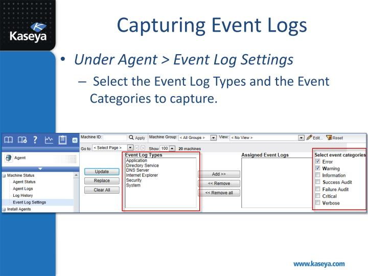 Capturing Event Logs