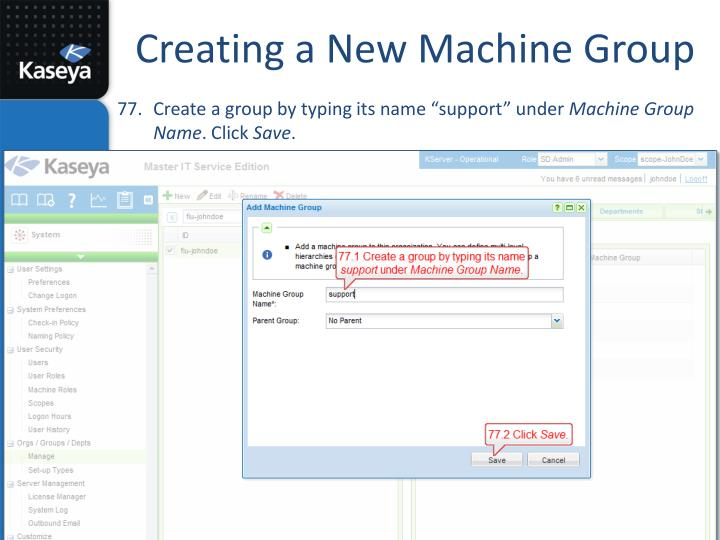 Creating a New Machine Group