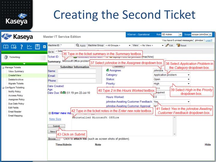 Creating the Second Ticket