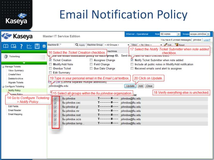 Email Notification Policy