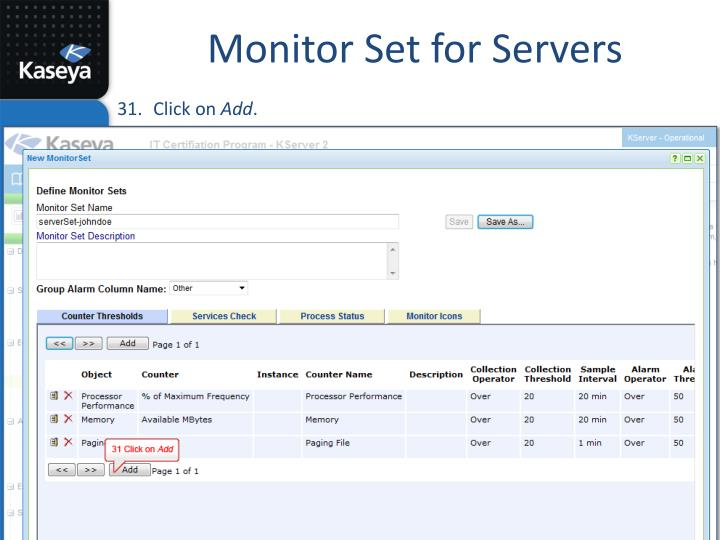 Monitor Set for Servers