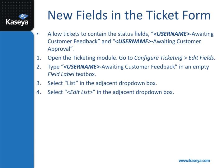 New Fields in the Ticket Form