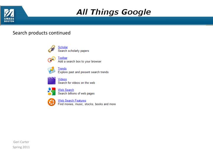 Search products continued