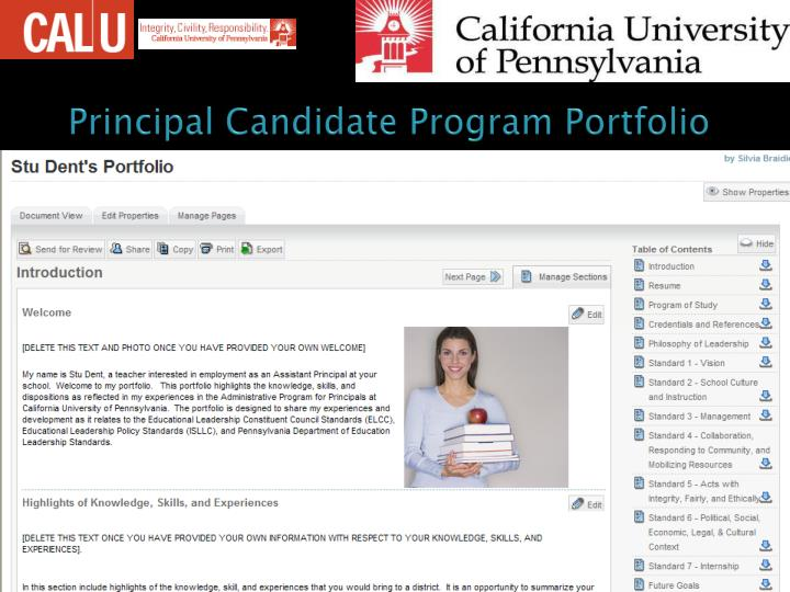Principal Candidate Program Portfolio