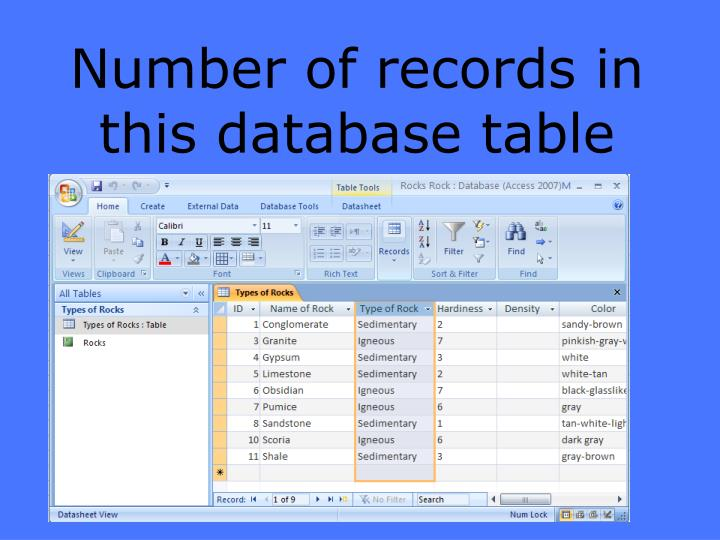Number of records in this database table