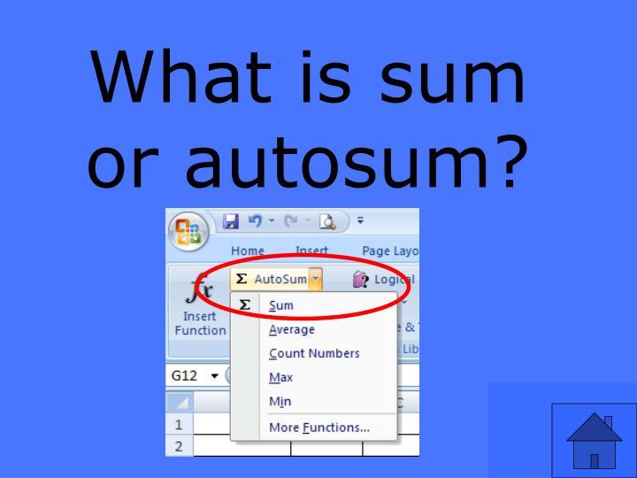 What is sum or autosum?