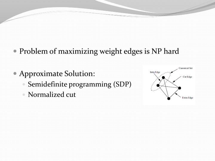 Problem of maximizing weight edges is NP hard