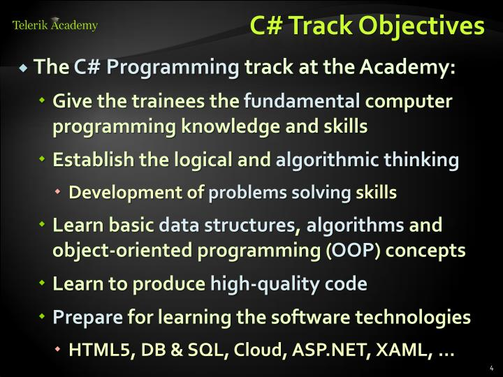 C# Track Objectives