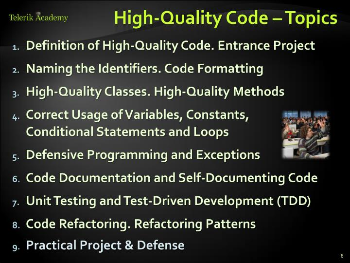 High-Quality Code – Topics