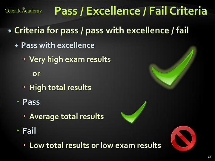 Pass / Excellence / Fail Criteria