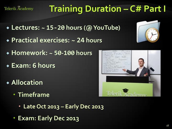 Training Duration – C# Part I