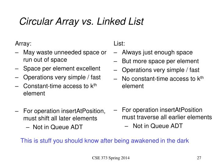 Circular Array vs. Linked List