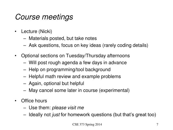 Course meetings