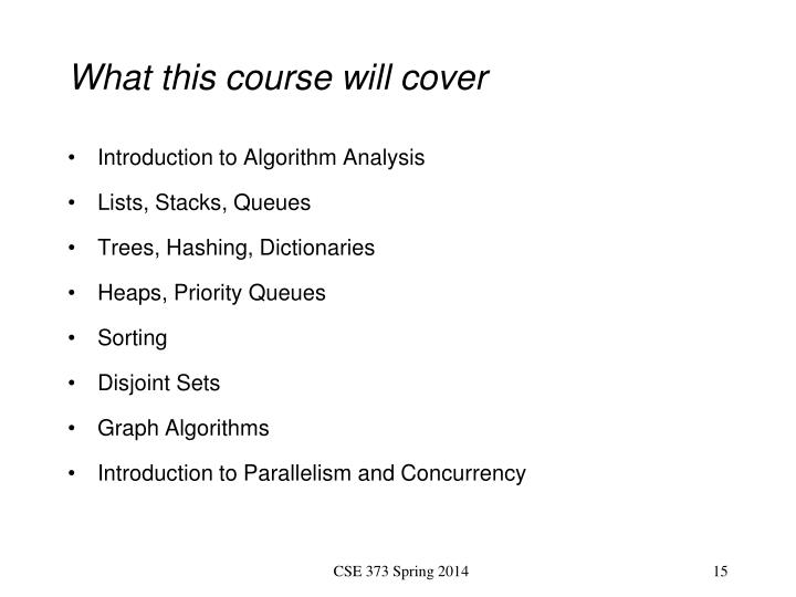 What this course will cover
