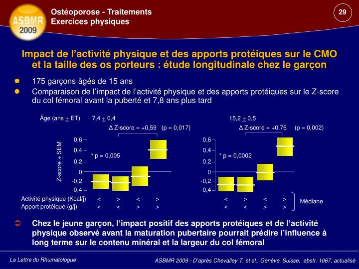 Chez le jeune garçon, l'impact positif des apports protéiques et de l'activité physique observé avant la maturation pubertaire pourrait prédire l'influence à long terme sur le contenu minéral et la largeur du col fémoral