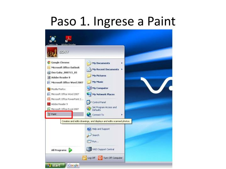 Paso 1 ingrese a paint