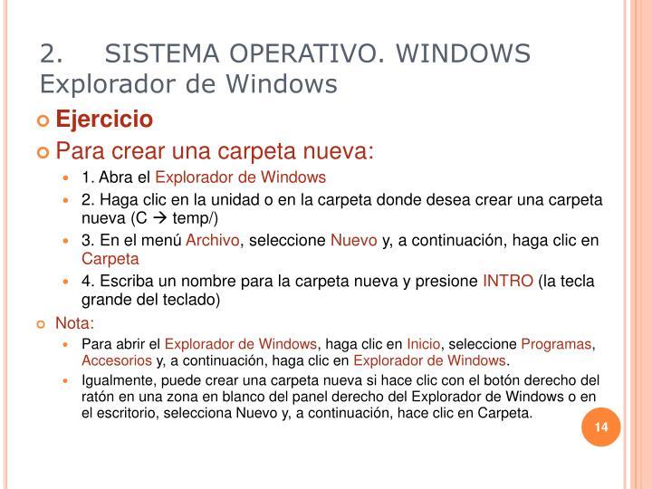 2.SISTEMA OPERATIVO. WINDOWS