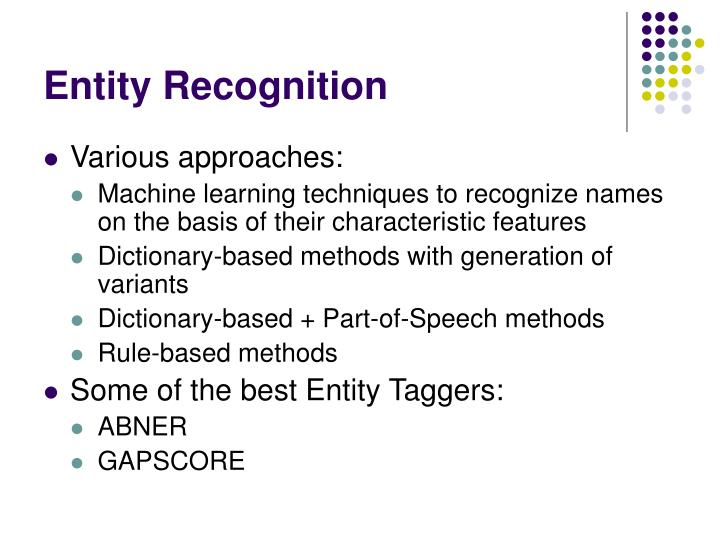 Entity Recognition