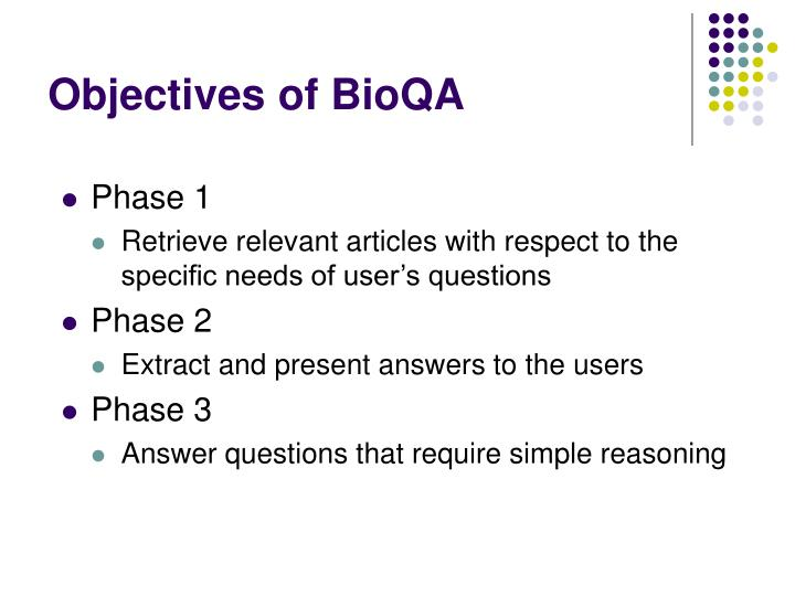 Objectives of BioQA