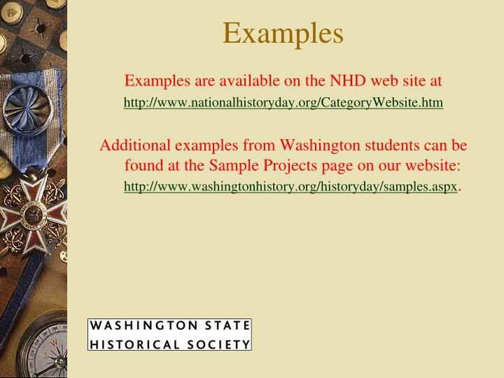 Examples are available on the NHD web site at