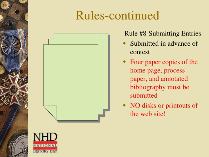 Rule #8-Submitting Entries