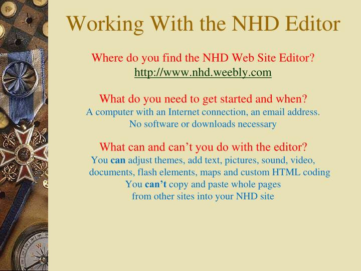 Where do you find the NHD Web Site Editor?