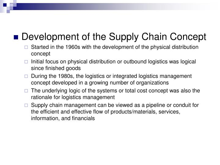 Development of the Supply Chain Concept