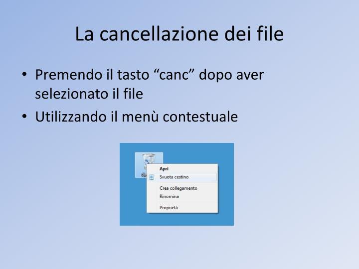 La cancellazione dei file