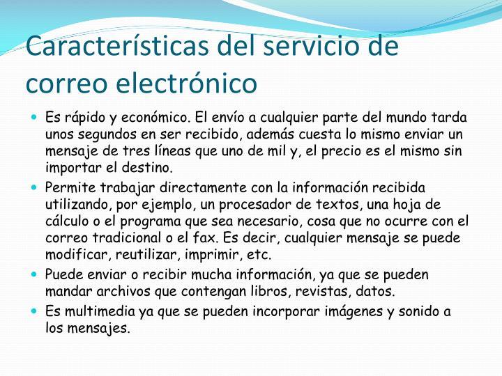 Características del servicio de correo electrónico