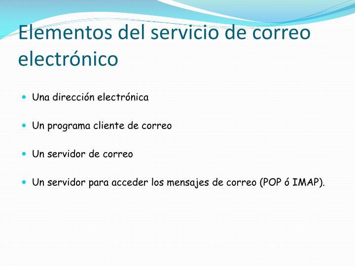 Elementos del servicio de correo electrónico