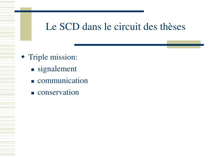 Le SCD dans le circuit des thèses