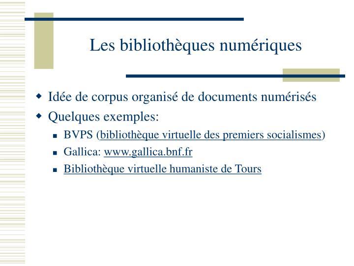 Les bibliothèques numériques