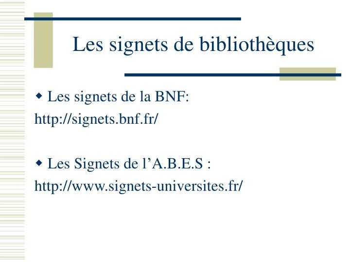 Les signets de bibliothèques