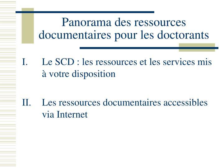 Panorama des ressources documentaires pour les doctorants