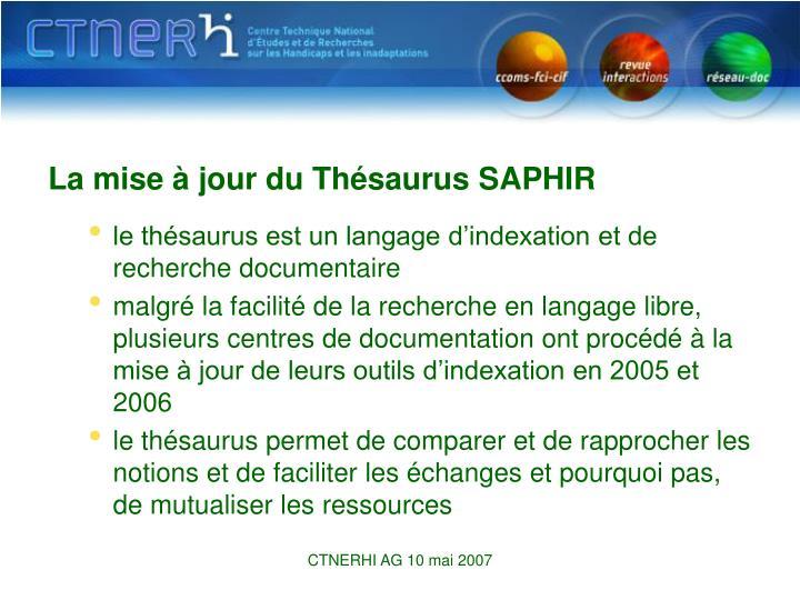 La mise à jour du Thésaurus SAPHIR