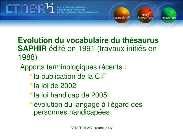 Evolution du vocabulaire du thésaurus SAPHIR