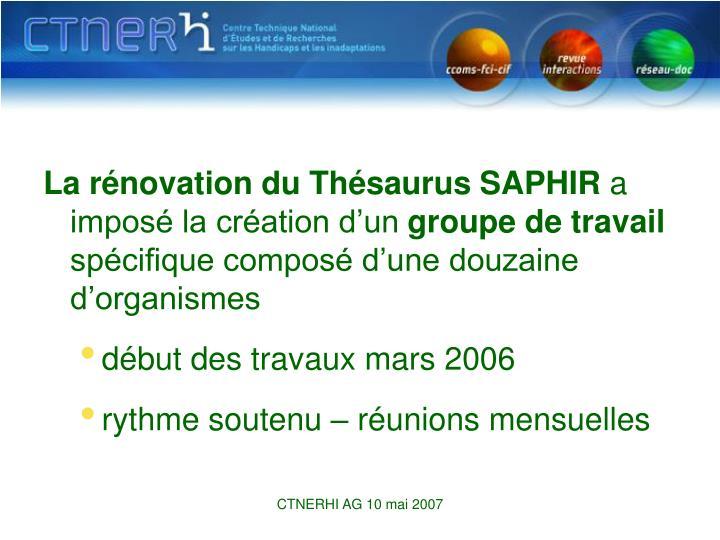 La rénovation du Thésaurus SAPHIR