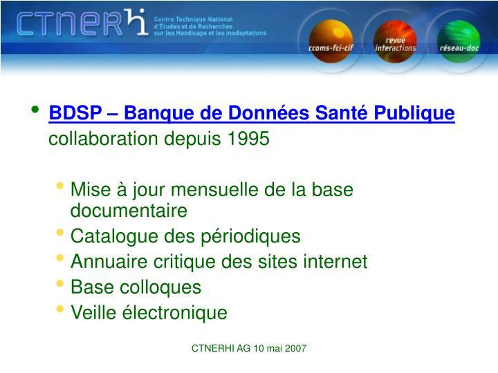BDSP – Banque de Données Santé Publique