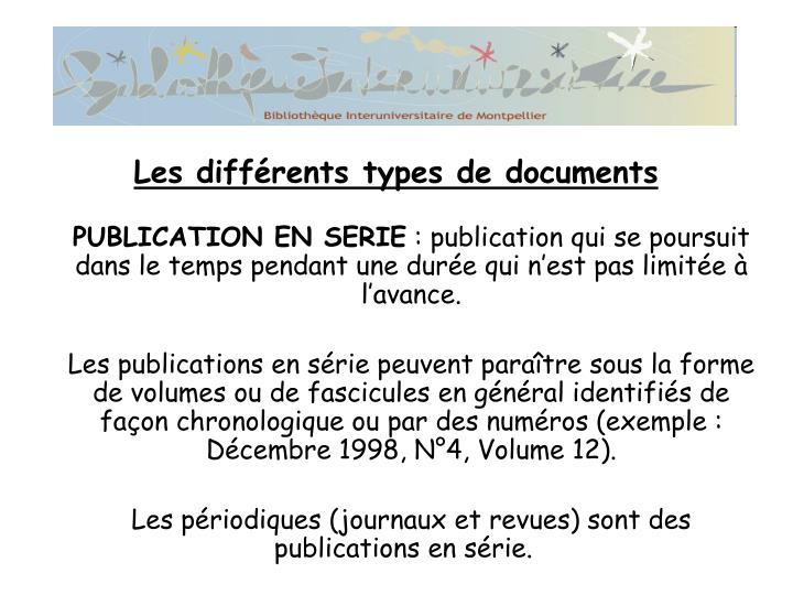 PUBLICATION EN SERIE