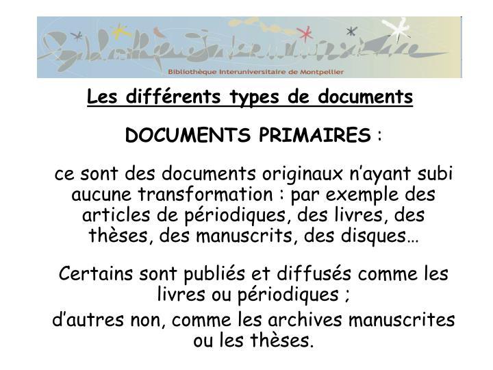 DOCUMENTS PRIMAIRES