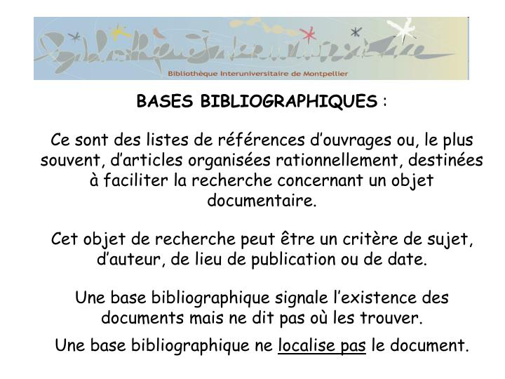 BASES BIBLIOGRAPHIQUES