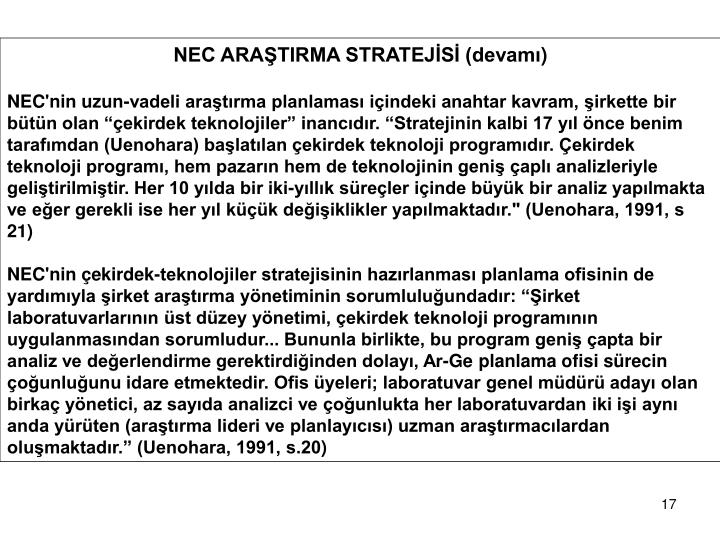 NEC ARAŞTIRMA STRATEJİSİ (devamı