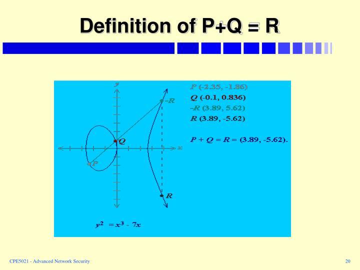 Definition of P+Q = R