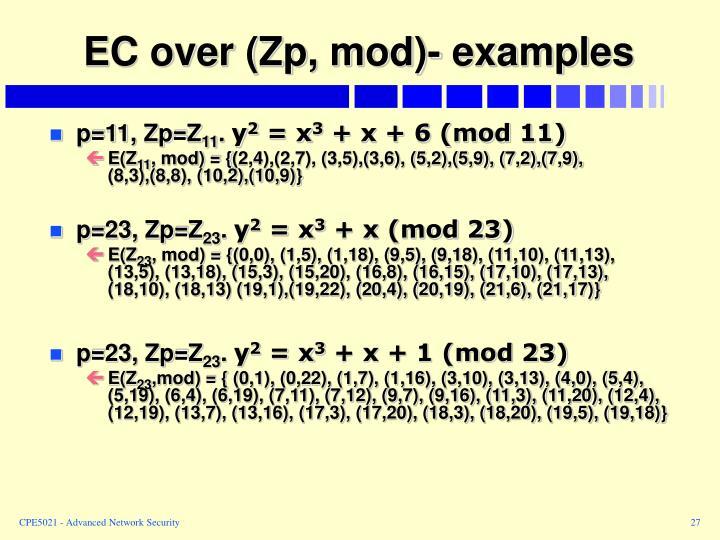 EC over (Zp, mod)- examples