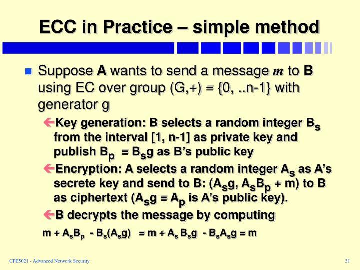 ECC in Practice – simple method