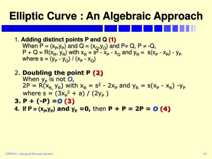 Elliptic Curve : An Algebraic Approach