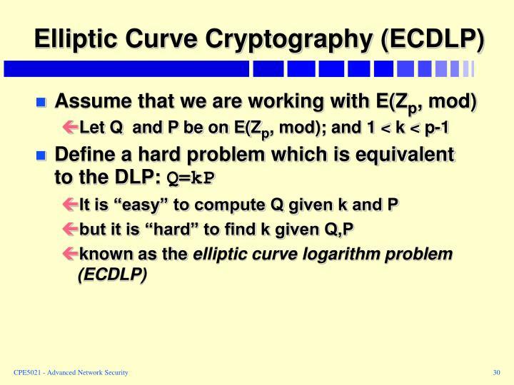 Elliptic Curve Cryptography (ECDLP)