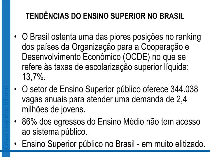 TENDÊNCIAS DO ENSINO SUPERIOR NO BRASIL