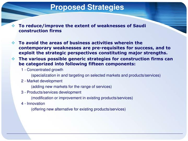 Proposed Strategies